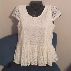 Lace with ruffle top